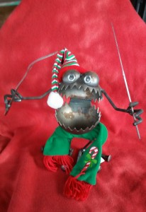 Mortimer in his Christmas outfit